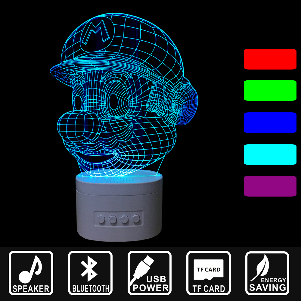 Bluetooth Speaker 3D Music Nightlight Cartoon Mario head USB Lamp LED Night Light Asmosphere Lamp Home decor lamp gift IY803323 kmashi led flame lamp night light bluetooth wireless speaker touch soft light for iphone android christmas gift mp3 music player