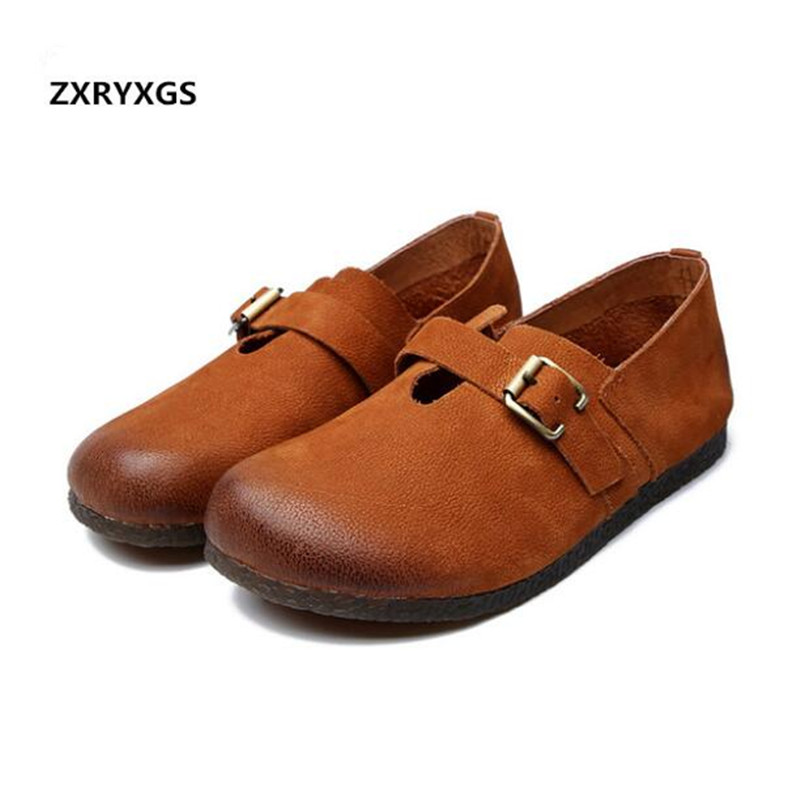 Elegant Comfort Full Genuine Leather Shoes Flat Shoes 2019 Handmade Retro Spring Shoes Fashion Casual Shoes