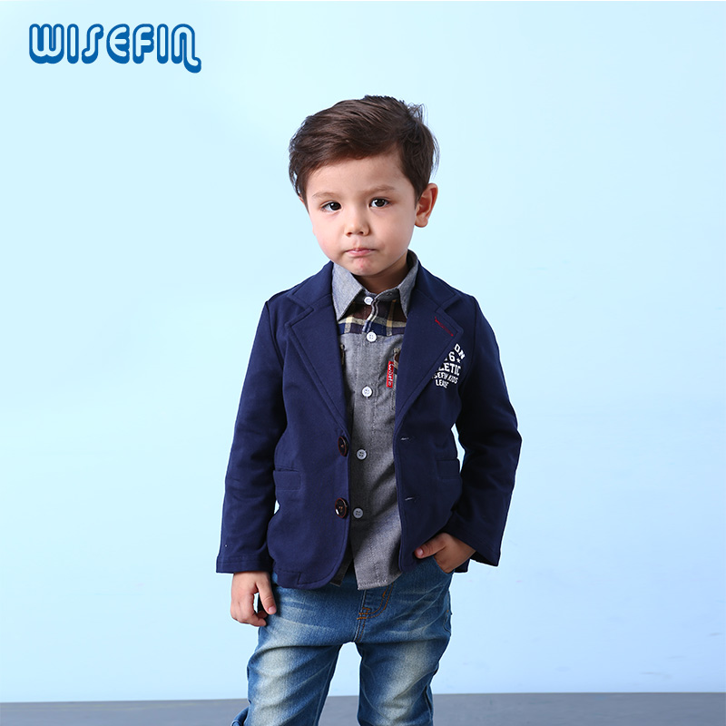Aliexpress.com  Buy WISEFIN Boys Outwear Navy Blue Gray Two Button Children Casual Blazer ...