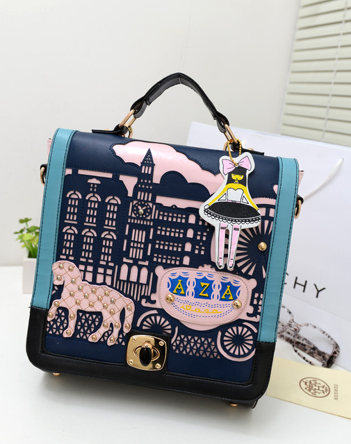 Aza Spring Princess Backpack Women S Handbag Vintage Personality Cutout Portable Student Bag