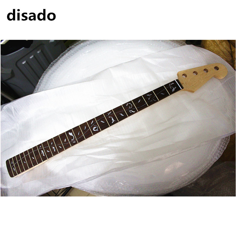 disado 24 frets maple electric bass guitar neck rosewwood fingerboard inlay tree of life wood color glossy paint guitar parts disado 24 frets inlay dots maple electric guitar neck maple fingerboard wood color black headstock guitar accessories parts