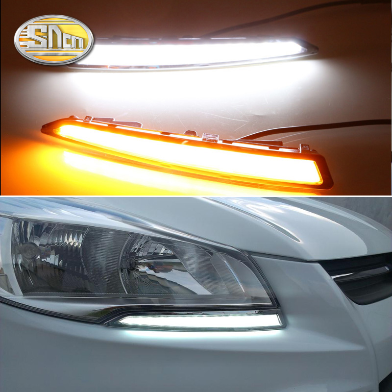 SNCN 2PCS LED Daytime Running Light For Ford Escape Kuga 2013 2014 2015 Turning Yellow Signal