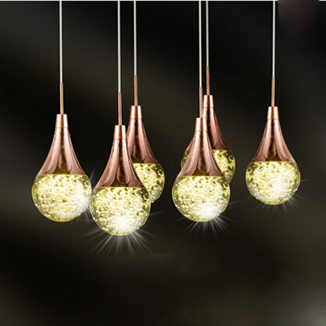 Zyy Modern Clear K12 Crystal Led Bubble Chandelier 6 Heads Simple Creative Restaurant Hang Lamps
