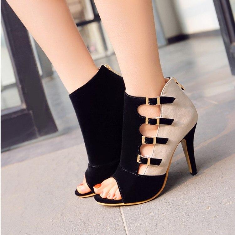 ФОТО Polaris 2017 Women Sandals Plus Size 34-39 Fashion Zip High Heel Summer Women Pump Shoes Woman Office Black Blue Red