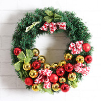 2017 30cm Christmas Wreath Garland Window Party Tree Hoom Christmas Decorations Colorful Ball Bowknot Ornaments Xmas