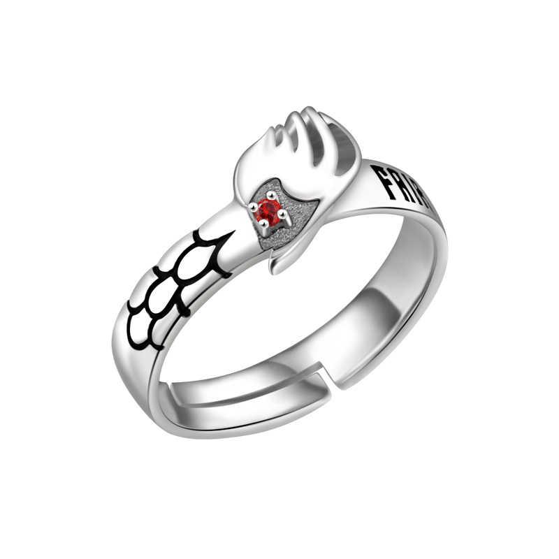 การ์ตูนการ์ตูน S925 Silver Fairy Tail Natsu Dragneel แหวนคอสเพลย์ Prop ทุกวัน Cos อะนิเมะแหวน Xmas ของขวัญ