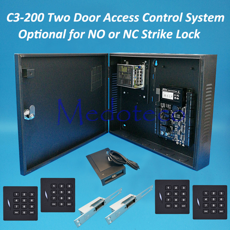C3-200 two door access control panel System+Keyapd 125khz KR102E rfid Reader Rfid Card Access Control NO NC Electric Strike Lock digital electric best rfid hotel electronic door lock for flat apartment