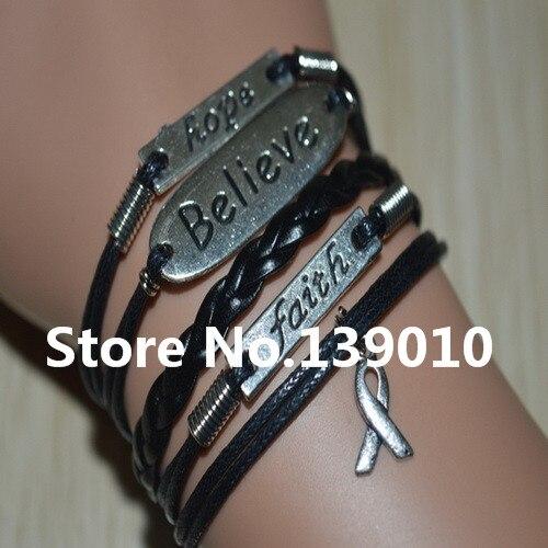 4211e134fe76 2018 nueva moda plata cree la esperanza fe cinta Accesorios pulsera 19  estilo variedad negro cuero cuerda joyería para Mujeres Hombres