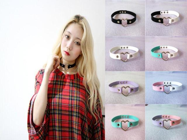 Harajuku Newest sweet heart Necklace Punk Rock 100% Handmade leather Choker Collar Necklace Fashion Jewelry