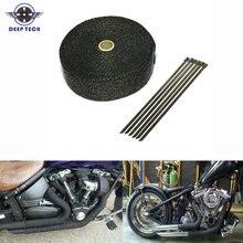 10 M * 2 inç Siyah Egzoz Isı Wrap Iniş Borusu Motor Bölmesi Egzoz Kalkanları Motosiklet Egzoz Borusu Wrap Başlık
