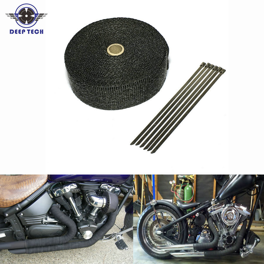 10m 2inch black exhaust heat wrap downpipe engine bay exhaust shields motorcycle exhaust pipe wrap header