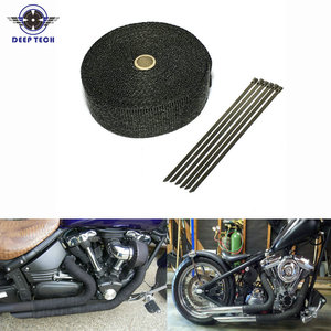 Image 1 - 10M * 2inch  Black Exhaust Heat Wrap Downpipe Engine Bay Exhaust Shields Motorcycle Exhaust Pipe Wrap Header
