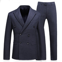 Plaid Cloth Business Party Men Suits Three Piece Jacket Pants Vest Peaked Lapel Double Breasted Wedding