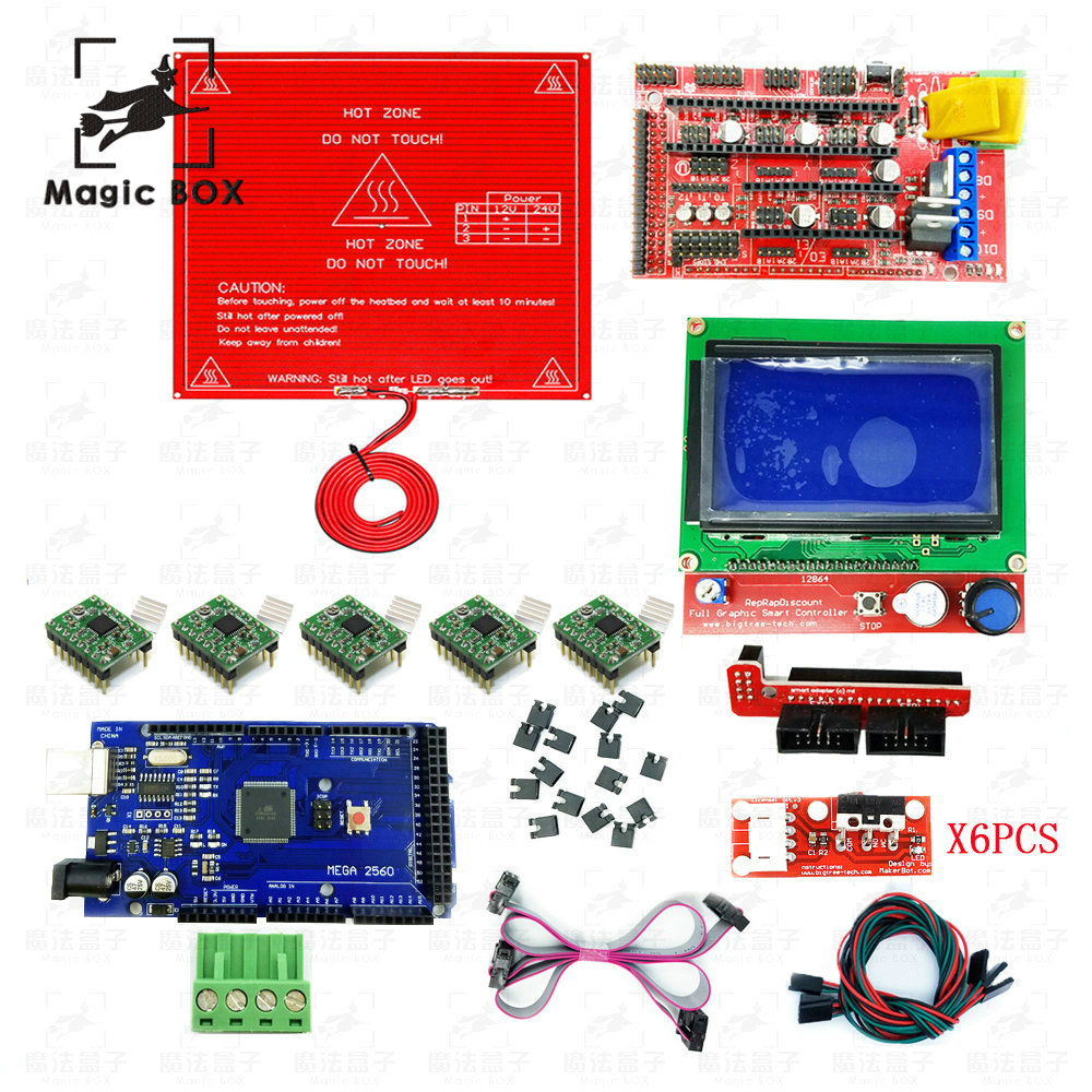 3D Printer parts Kit RAMPS 1.4 Controller + LCD 12864 + 6 Limit Switch Endstop + 5 A4988 Driver+ Mega 2560 R3 + MK2B hailangniao cnc 3d printer kit for mega 2560 r3 ramps 1 4 controller lcd 12864 6 limit switch endstop 5 a4988 stepper