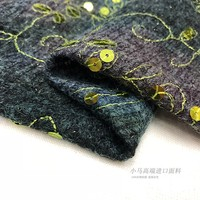imported sea horse burrs embroidered with sequins, autumn, winter, fabric, elastic, black and white knitted fabric.