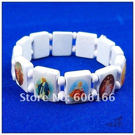 120pcs/lot Catholic Wooden Religious Bracelet White Wood Holy Icon Jesus Bracelets Rosary Bracelet Religious Jewelry