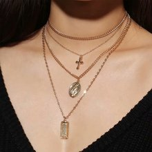 Fashion Multilayer Gold Color Chain Necklace Jesus Virgin Mary Cross Rectangle Pendant For Women Christmas Gift