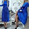 2017 Fashion Women Dresses Velvet Dress Long Sleeve Round Neck Party Dresses Pleated Swing Vintage Dress