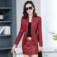2 piece outfits for women rave festival locomotive pu leather women short slim women's leather jacket and skirt two piece set