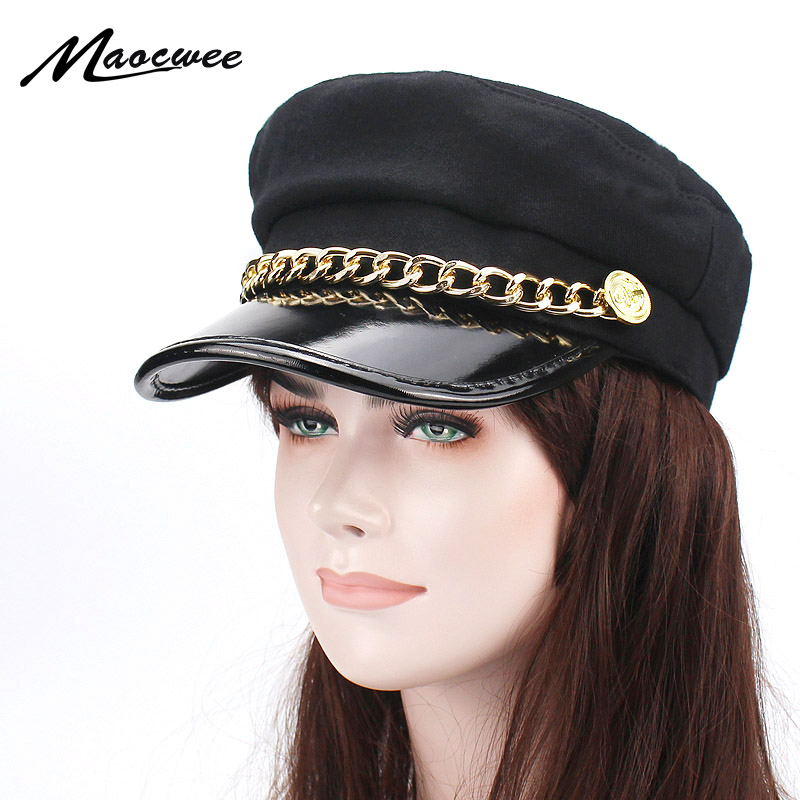 Military Cap Iron Chain Hat Female Winter Hats for Women Men Ladies Army Militar Hat Pu Leather Visor Black Cap Sailor Hat Bone