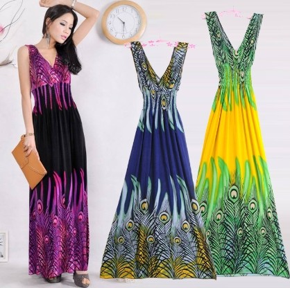 2019 Թեժ վաճառք: Նոր մեծածախ Deep V Collar Peacock Bohemia Summer Long Beach boho Dress Maxi Dress- ը