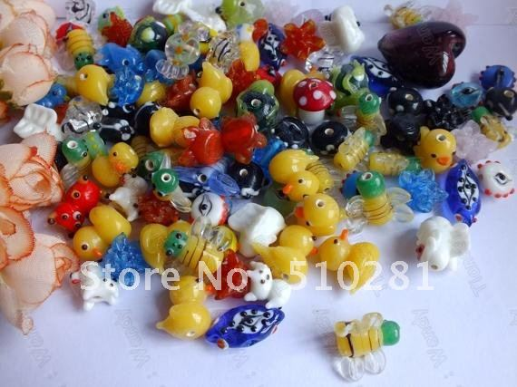 Lovely 150piece Lampwork Murano Animal Glass Beads