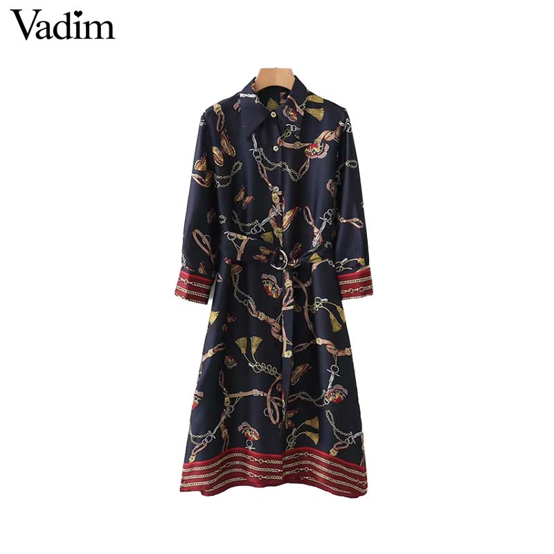 Vadim women chains print shirt dress striped with belt three quarter sleeve side split casual chic loose vestido QA681-in Dresses from Women's Clothing