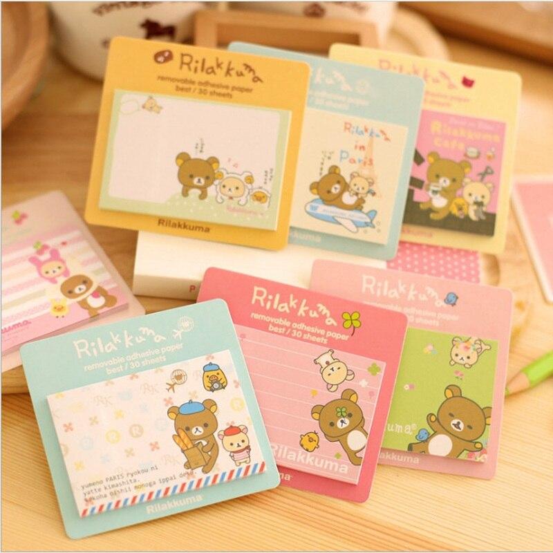10 pcs/Lot Rilakkuma sticky notes Cute bear Post Memo pad Adhesive paper stationery papelaria Office School supplies CM648