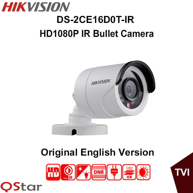 Hikvision Original English Analog TVI DS-2CE16D0T-IR HD1080P IR Bullet Camera 2MP IP66 weatherproof Up the Coax CCTV Camera hikvision ds 2ce16c0t ir 3 6mm original bullet camera outdoor analog camera ir tvi 720p 1mp