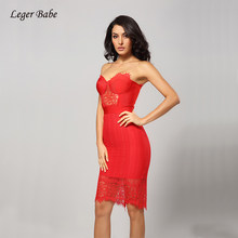 Leger Babe Sexy Bodycon Bandage Dress Women Summer Strapless Red Lace  Vestidos Spilting Celebrity Evening Party Dress Sleeveless e21883206d9a