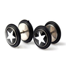 1 Pair Cherry Star Leopard Zebra Fake Cheater 0 Gauge Earring Stud Barbell Ear Plug JW785-JW789(China)