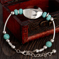0103  Charm Beads Fashion Jewelry Vintage Hollow Out Handmade Petals Tibetan Silver Turquoise Bracelet
