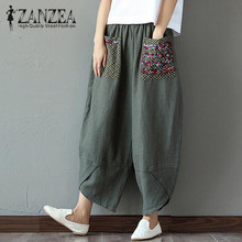 2019 ZANZEA Summer Casual Loose Long Trousers Baggy Pantalon Women Elastic Waist Retro Print Linen Cotton Harem Pants Plus Size