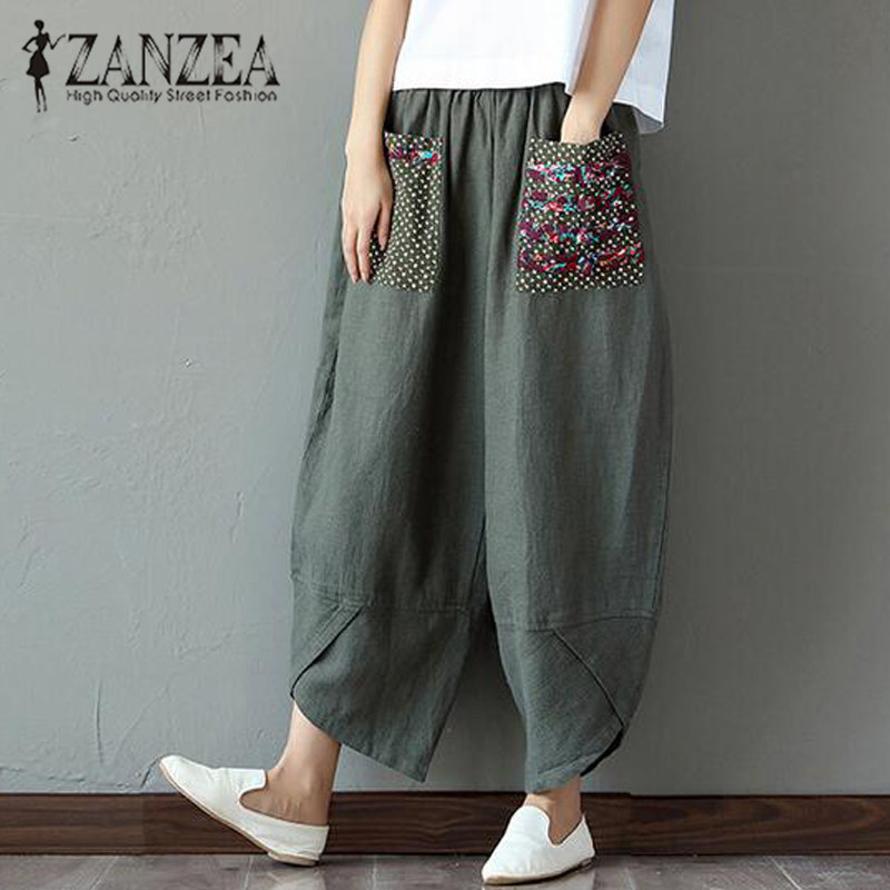 2020 ZANZEA Summer Casual Loose Long Trousers Baggy Pantalon Women Elastic Waist Retro Print Linen Cotton Harem Pants Plus Size