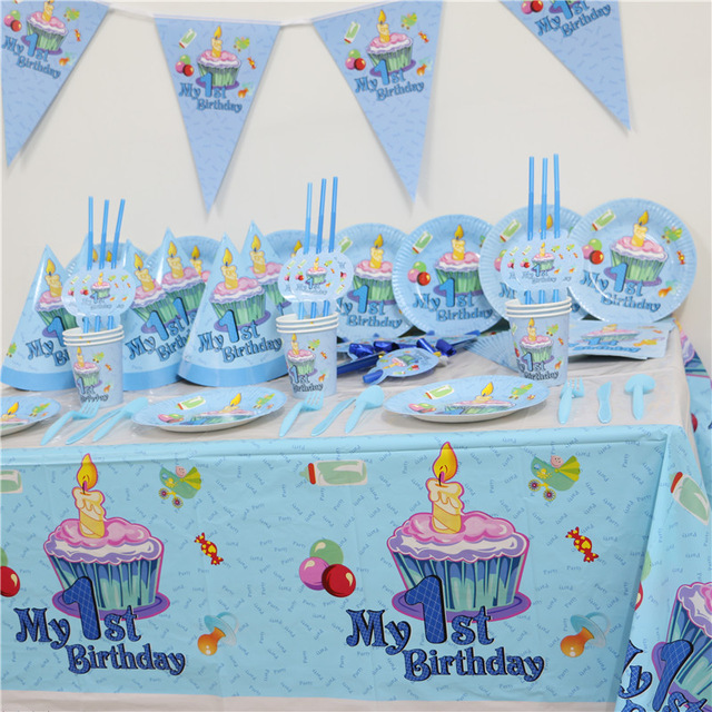 102pcs Kids First Birthday Party Set 10 People Girl Boy 1st Theme Supplies Baby