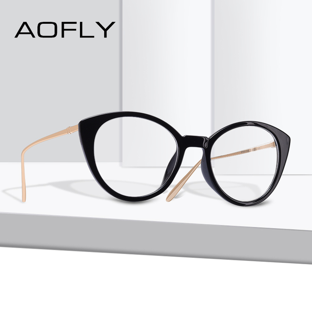60c1667ee2b AOFLY BRAND DESIGN Fashion Retro Women Cat Eye Eyeglasses Frame Reading  Plain Glasses Frame Optical Clear Lens Eyewear AF9201