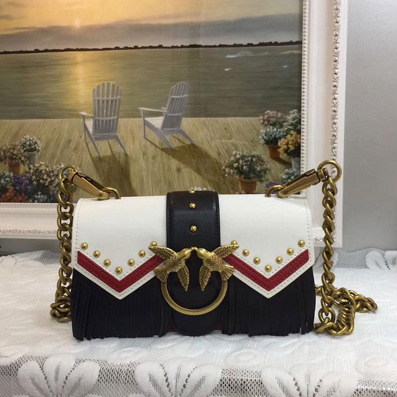 цена на Famous brand Swallow Bags Woman totes genuine Leather fashion rivet tassel Handbags Women Messenger Bags Chain Crossbody Bag