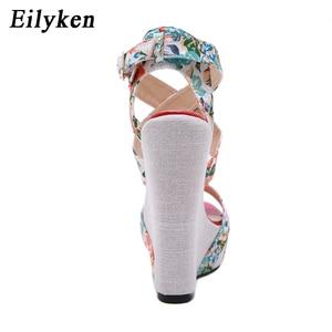 Image 3 - Eilyken 夏のファッションウェッジプラットフォーム女性のサンダルの靴バックルストラップシルクプリントセクシーな女性パーティーカジュアルサンダル靴