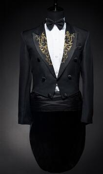 Chanteur Étoiles Blanc Costume Pour Vêtements Noir veste Danseur L'homme En Discothèque Scène Studio Hôte Thème Spectacle Pantalon Smoking Et waqS64X