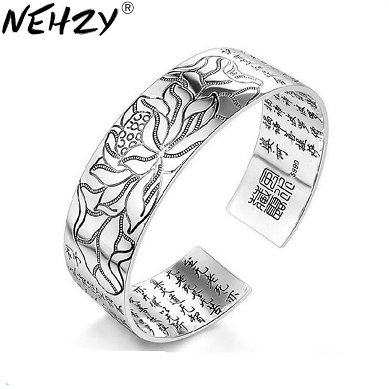100% Wahr Nehzy Lotus Sutra 990 Silber Armband Armband Tibetischen Buddhistischen Schriften Sprache Weibliche Hand Schmuck Großhandel Armband HöChste Bequemlichkeit