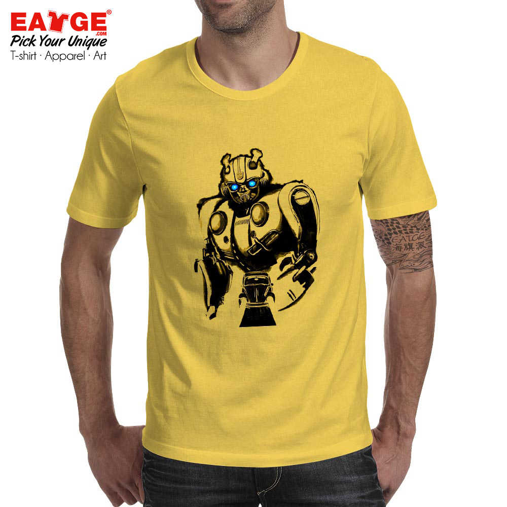 a6ad98f6d ... Yellow Robot Bumblebee T Shirt Movie Manga Awesome Novelty Rock Fashion  T-shirt Active Design ...