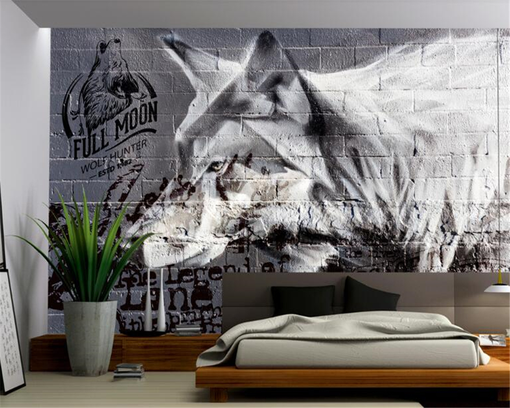 beibehang <font><b>3d</b></font> mural <font><b>wallpaper</b></font> American wolf <font><b>sex</b></font> culture brick wall tooling background brick <font><b>wallpaper</b></font> <font><b>3d</b></font> wall papers home decor image