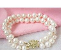 free shipping HOT 8'' Elegant! 2strands 8-9mm white pearls bracelet bangle Natural