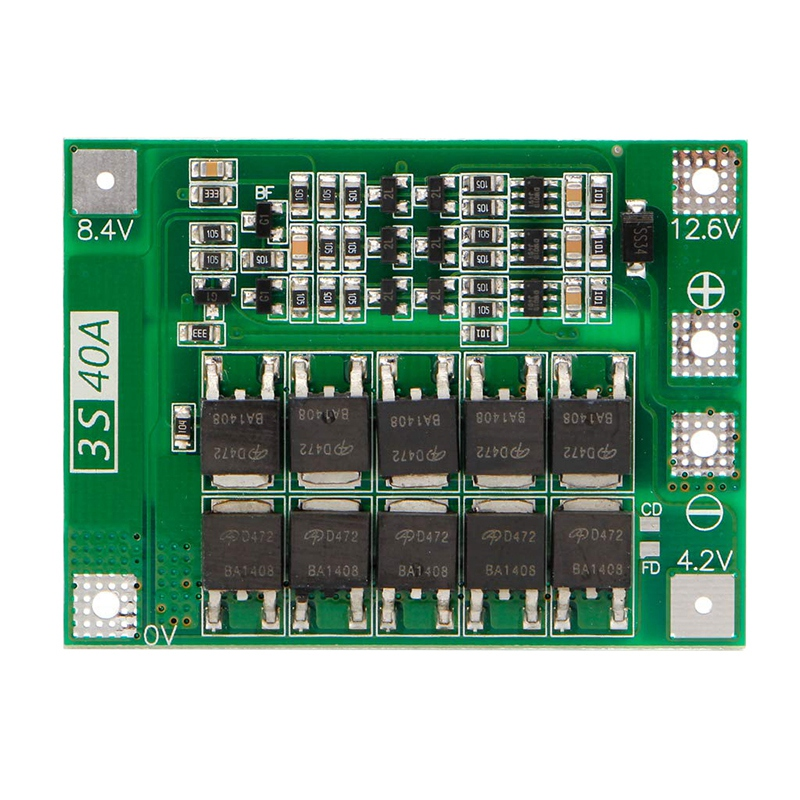 <font><b>3S</b></font> <font><b>40A</b></font> <font><b>18650</b></font> Li-Ion Lithium Battery Charger Protection Board Pcb <font><b>Bms</b></font> For Drill Motor 11.1V 12.6V Lipo Cell Module image