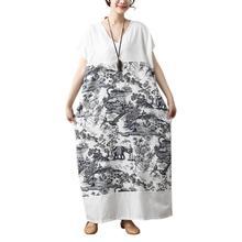 9716ec5854396 جديد المرأة عارضة الرجعية فضفاضة فستان من الكتان الصيف خمر طباعة الأزهار  قصيرة الأكمام الخامس الرقبة زائد حجم بوهو الإناث ماكسي .
