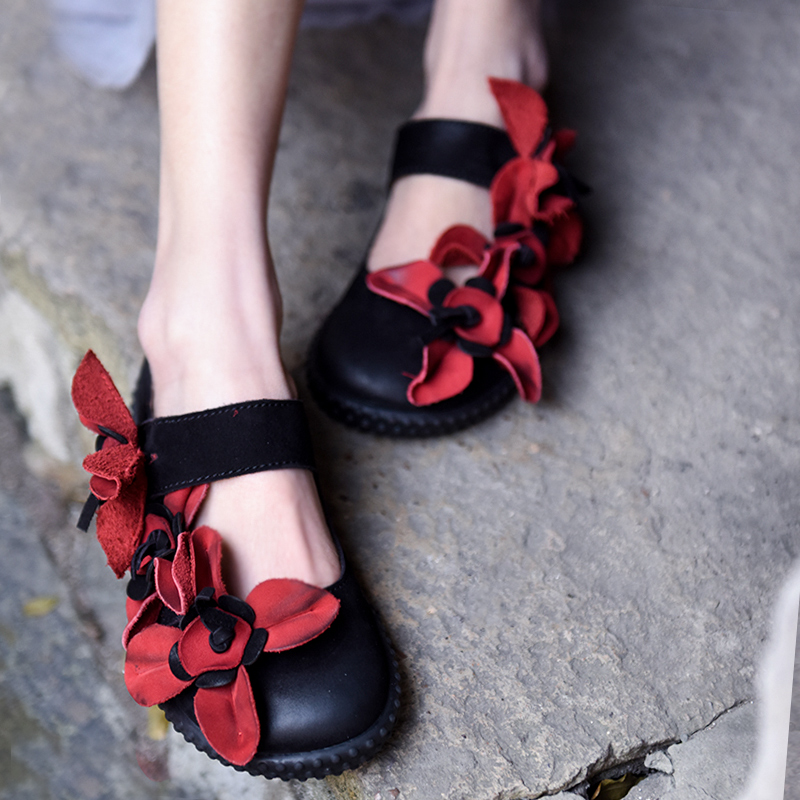 Artmu Fashion Red Flowers Women Flats Shoes Retro Handmade Cow Leather Shoes Woman Vintage Comfort Shoes