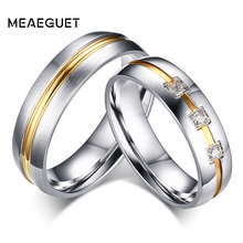 Meaeguet Silver Color Classic Lovers CZ Stone Engagement Rings Stainless Steel Couple Anel Wedding Bands Lover Women Jewelry cheap Fashion lovers R-065MG Prong Setting All Compatible Round Cubic Zirconia Derocation