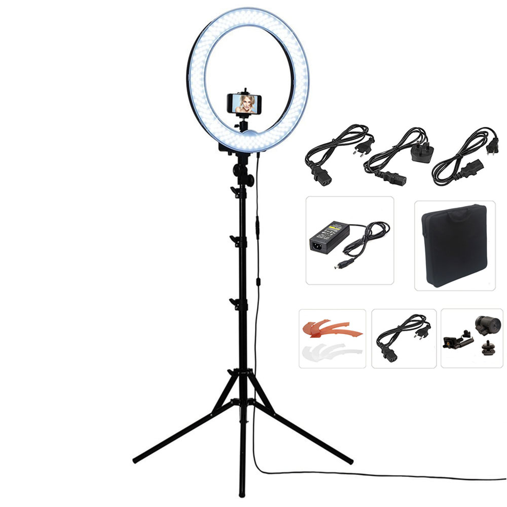 Camera Photo/Studio/Phone/Video 1855W 240 LED Ring Light 5500K Photography Dimmable Ring Lamp with Plastic Color/Tripod Stand fotopal led ring light for camera photo studio phone video 1255w 5500k photography dimmable ring lamp with plastic tripod stand