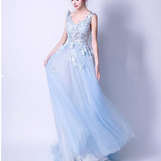 ruthshen Sexy Prom Dresses 2018 New V-Neck Embroidery Butterfly Long Evening Gowns See Through Light Blue Formal Dress 3