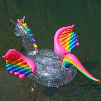 Inflatable Glitter Rainbow Pegasus Ride on Pool Float for Swimming Inflatable Island Floating Pool Lounger Summer Beach Fun